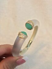 ALEXIS BITTAR White Silver Lucite Green  CRYSTAL DECO BYPASS Hinged Bracelet