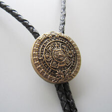 Original Antique Gold Plated Classic Aztec Calendar Sculpting Bolo Tie Necklace
