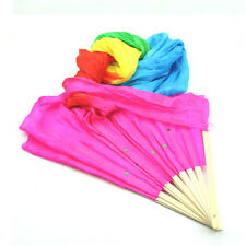 2015 Hot Hand Made Colorful Belly Dance Dancing Silk Bamboo Long Fans Veils