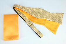 Lord R Colton $75 Gold & Blue Circle Reversible Bow Tie & Pocket Square New