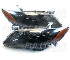 BLACK w/ CLEAR LENS HEADLIGHT PAIR SET FOR TOYOTA CAMRY CE LE SE XLE 2007-2009