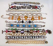 15 Vintage Wholesale Bracelet Lot Coro Beaded Stainless Steel Faux Pearl 117d