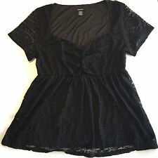 Torrid Lace Cinch Front Babydoll Top Black Size 1 or 1X