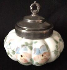 Mt Washington Victorian Era 1890's Satin Enameled  Pansies Lobed Biscuit Jar