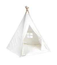 Teepee Indoor Playhouse Child DeceStar White Color with Bottom and Window Kids