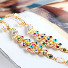 Colorful Rhinestone Crystal Peacock Bracelet For Women New Bangle Jewelry Gift