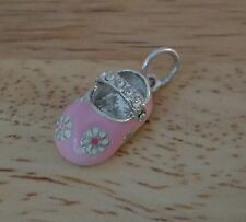 Sterling Silver 19x10mm Baby Girl Bootie Shoe Pink Enamel Daisies Crystals Charm