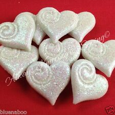 5 x Frosted love heart buttons white size 20mm