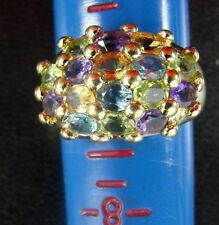 Beautiful Gold Tone Sterling Silver Cluster 16 Stone Ring Size 9, 6.9 Grams