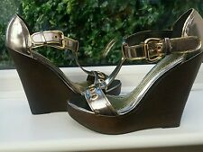 FAB RIVER ISLAND HIGH WEDGE PEWTER GOLD SHOES SIZE 7 /40