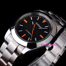Parnis 40mm black dial flash hand sapphire glass Automatic men's watch 201
