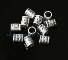 30Pcs Tibetan Silver Cylinder Spacer Tube Beads Fit Euro Chain Design 8x6mm