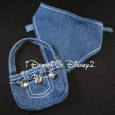 BUILD-A-BEAR BLUE JEAN DENIM SCARF AND SILVER CHARM PURSE TEDDY ACCESSORY SET