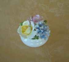 Royal Doulton Bone China Round Flowers Pot Made in England Yellow/Pink & Blue