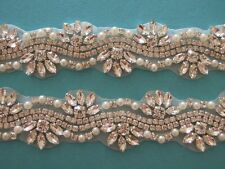 "18"" LONG Clear Rhinestone Pearl Wedding Bridal Dress Applique Trim = DIY!"