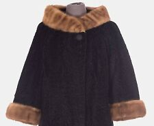 VINTAGE Women's Winter Natural Fur Jacket Size S Small Black