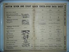 AUSTIN 7 8 SEVEN EIGHT BIG SEVEN VAN ORIGINAL DATA SHEET PUB RESTAURANT DISPLAY