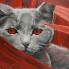 Original Acrylic Painting of Grey Alien Imaginary Cat Red Eyes 8x8 Canvas SIGNED