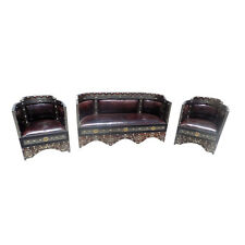Moroccan Rustic Living Room Seating Leather Metal & Bone Set