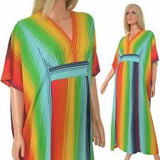 Vintage 1970s KAFTAN Striped Arnel Maxi Dress Caftan Butterfield 8 Hippy Boho