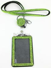 3 in 1 Rhinestone LANYARDs with Retractable Reel & Vertical ID Badge Holder