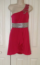 NWD $300 KIMIKAL HOT PINK RHINESTONE BELT ONE SHOULDER PARTY NYE DRESS S RHONJ