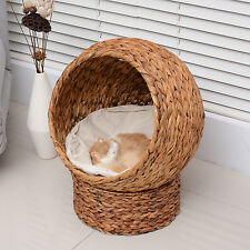 PawHut Elevated Cat House Tree Kitty Condo Bed Banana Leaf Cave Brown w/ Cushion