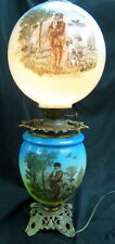 unusual GWTW converted oil lamp RARE sports hunting scene hand painted mkd NB&IW
