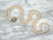 HIGH QUALITY MID CENTURY JAPAN AKOYA PEARL ROPE NECKLACE STERLING SILVER CLASP