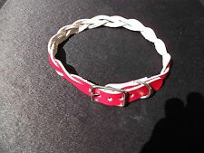 #DC3B*BRAIDED REAL LEATHER PUPPY /CAT COLLAR