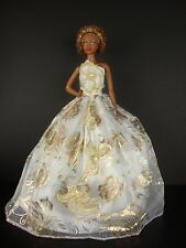 White Gown with Lots of Gold Floral Patterns Made to Fit Barbie Doll
