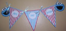 "Birthday Party Banner (Cookie Monster) Customized - 12 1/2""wide x 4 1/2""long"