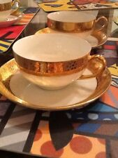 Vintage Antique Royal Bavaria 18K Gold And White China Teacup And Saucer