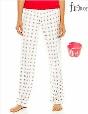 NWT XL Flirtitude Women White Grey Polka Dots Fleece Pajama Pants & Elastic Band