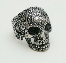 Men's gothic poker skull flower stainless steel silver finger ring PUNK size 10