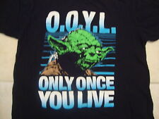 "Star Wars Yoda ""Only Once You Live"" O.O.Y.L. T Shirt L (fits like a M)"