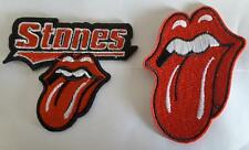 2 x ROLLING STONES TONGUE IRON ON EMBROIDERED PATCH 8.5cm x 7cm MUSIC BANDS