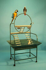 "Large ""O""  Wrought Iron Parrot Bird Play Gym Stand With Stainless Steel Cups899"