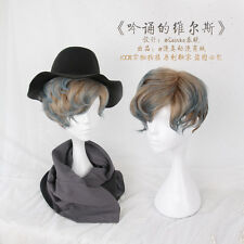 Harajuku Woman Man Brown Blue Gradient Short Hair Wig Unisex Cospaly Hairpiece