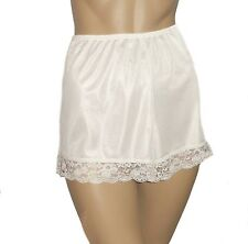 2 PAIRS Cream Satin French Knickers Vintage Style Size 26/28 Deep Lace Trim New