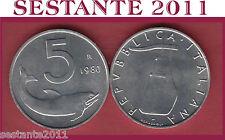 A16 ITALY ITALIA  REPUBBLICA ITALIANA  5 LIRE 1980 KM 92  FDC / UNC  DA ROTOLINO