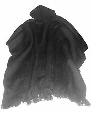 Dark gray Solid color Handmade Poncho for men with Hood / Alpaca wool Bolivia