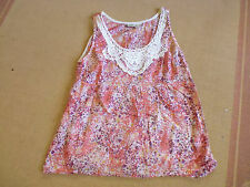 LADIES CUTE PINK FLORAL LACE NECK SLEEVELESS COTTON TOP BY SUSSAN SIZE 14 CHEAP