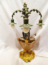 STUNNING EARLY 1900'S ART NOUVEAU FIGURAL WOMAN COLD PAINTED SPELTER LAMP