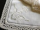 "ELABORATE Antique BOBBIN LACE & EMBROIDERY 12 Napkins Linen ITALIAN 21"" ~Clean"