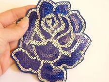 large rose patches sequin applique patch motif sew on blue craft UK