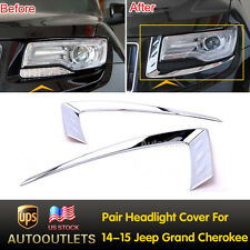 2PCS Chrome Front Headlight Eyelid Lamp Covers For 2014-2015 Jeep Grand Cherokee