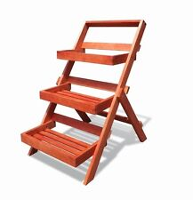 Vifah Wood Outdoor Three-Layer Plant Stand w/Teak Finish V1512 Plant Stand NEW