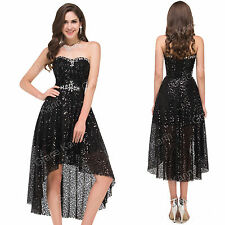 BLACK Sequins High Low Formal party Dress Cocktail Evening Prom Bridesmaid Gown