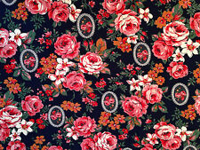"""QUILT FABRIC ~ CRANSTON PRINT WORKS NAVY BLUE PINK FLORAL Cotton 44"""" Wide 3.5 yd"""